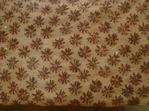 Kapa moe, bed covering, on display at the Honolulu Academy of Art