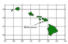 Map of Hawaiʻi showing Kahoʻolawe
