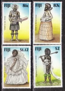 Fijian Chiefs Wearing Masi Depicted on  Commemorative Stamps