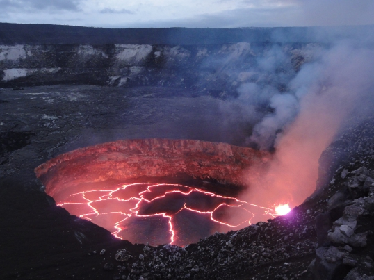 The lava lake within Halema'uma'u Crater at the summit of Kīlauea on February 1, 2014. USGS Photo.
