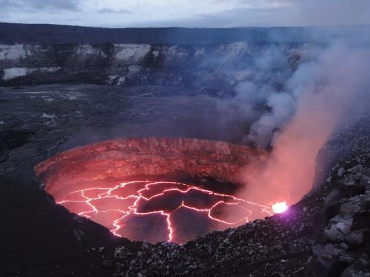 The lava lake within Halema'uma'u Crater at the summit of Kīlauea on February 1, 2014. USGS Photo.
